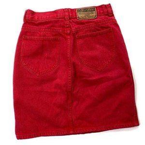 Calvin Klein Vintage Mini Skirt Red Denim Straight
